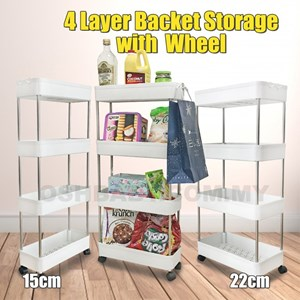 4 LAYER BASKET STORAGE WITH WHEEL