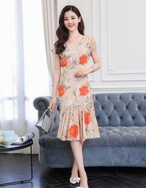 Retro Floral Chiffon Dress