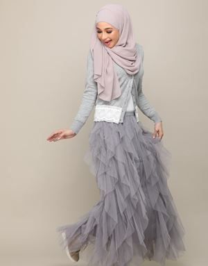 STELLA TULLE SKIRT IN GREY