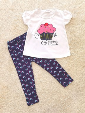 [SIZE 4Y] Girl Set WHITE CUPCAKE WITH NAVY PANT