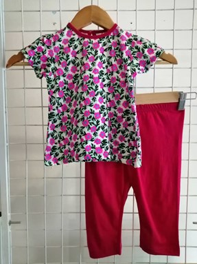 Baby Girl Set : Pink Daisy Red Pant size 9m - 24m