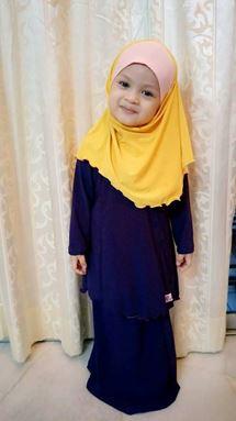 Kids Kurung Arrini ( Dark Blue) XL sahaja
