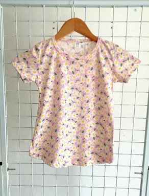 T-Shirt Short Sleeve FLOWER SOFT PINK: Size 1y-6y (1 - 6 tahun) TW
