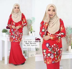 Kurung Cik Siti Lace Red Maroon