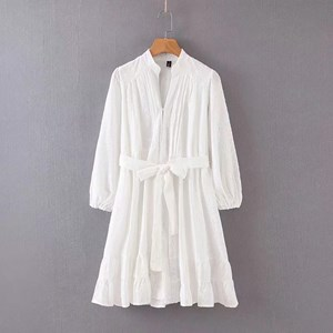 LONG SLEEVES BELTED WHITE DRESS