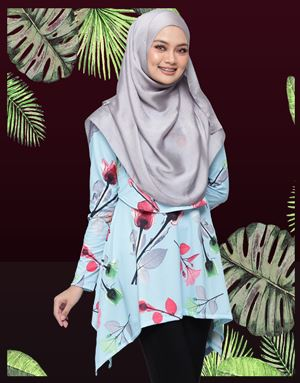 Rabecca Blouse Printed - Sky Blue