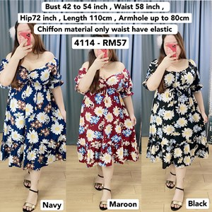 4114 * Ready Stock * Bust 42 to 54inch /107 - 137cm