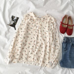 SWEET FLORAL PRINTS PEACH TOP