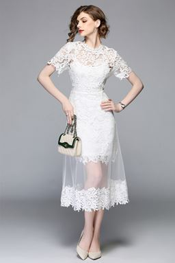Flower Lace Stitching Mesh Dress