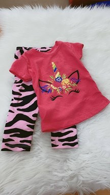 Girl Set Virtual Pink Unicorn With Pink Leopard Pant (2y - 5y)