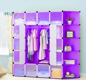20Cube Plain Purple Diy Wardrobe with Corner Shelf (P20PCR)