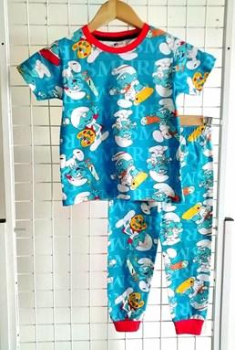 Pyjamas SMURFY WORKING BLUE : BABY size 12m - 24m (MYSHA)