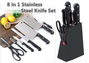 8 in 1 Stainless Steel Classic Kitchen Knife Set..