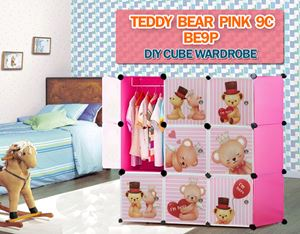 Teddy Bear PINK 9C DIY CUBE WARDROBE (BE9P)