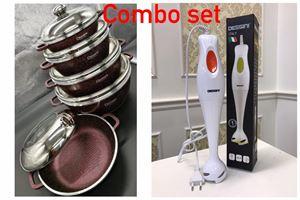 COMBO 10PCS DESSINI DIE CAST SET MAROON + DESSINI HAND BLENDER