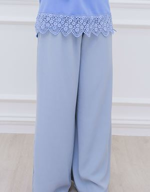 ZARA LOOSE PANTS IN DUSTY BLUE
