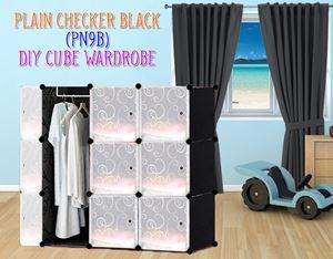 Plain Black 9C DIY Wardrobe (PN9B)