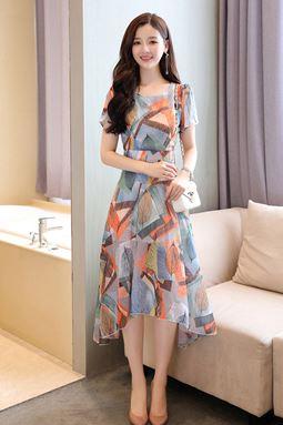 Chiffon Irregular Leaf Print Dress