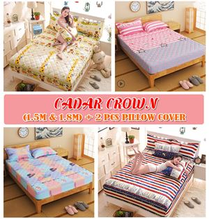 Floral Bedsheet Crown Fitted (King Size 1.8m & Queen Size 1.5m)