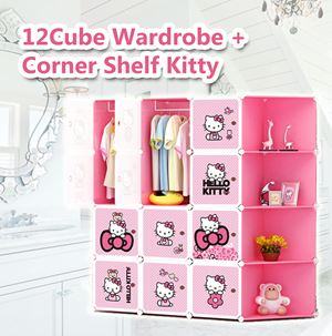 12 cube wardrobe + corner shelf kitty