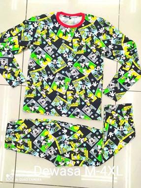 Pyjamas MICKEY STAR BLACK : Size DEWASA M - 4XL