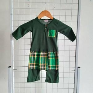Baju Melayu Rompers ( Emerald Green with Pelekat Sampin ), 9-12m