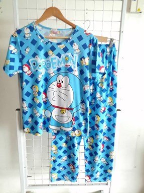 Pyjamas Dewasa Short Sleeve Doraemon Mix Color Light Blue