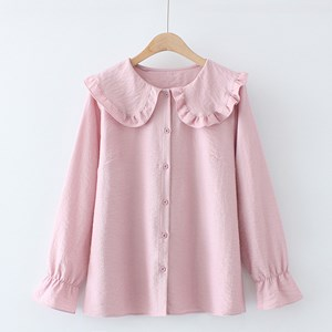 Oversized Blouse with Ruffled Collar (Pink)