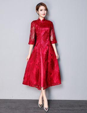Retro Cheongsam Lace Dress