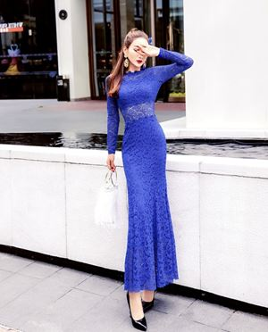 Long-sleeved Fish Tail Lace dress