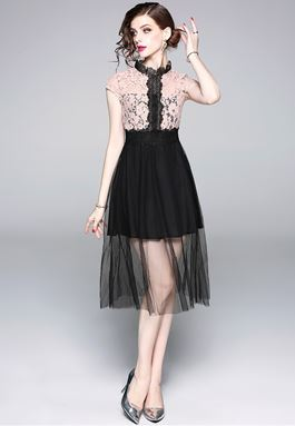 Lace Stitching Mesh Dress