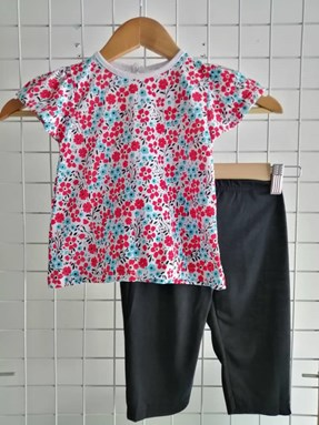Baby Girl Set : Red Blue Flower Black Pant size 9m - 24m