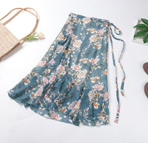 Floral Ruffled Chiffon Skirt