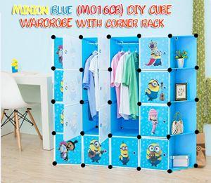 Minion Blue DIY Cube Wardrobe with Corner Rack (MO16CB)