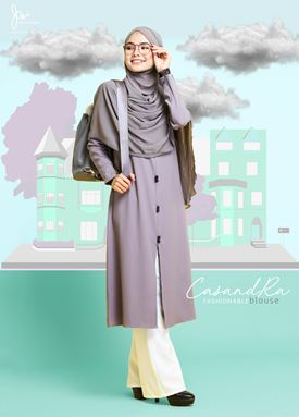 #DEFECT# CASANDRA FASHIONABLE BLOUSE (Luxury Grey)
