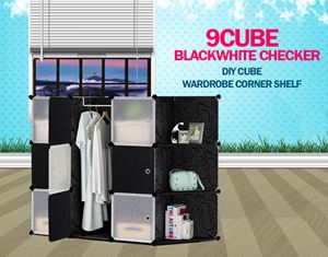 Plain Checker Black 9C DIY Cube w Corner Rack (BW9CR)