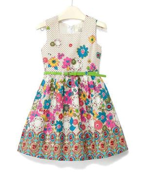 G028/13  JUMPING BEANS FLORAL WHITE. ( SIZE 4Y-10Y )