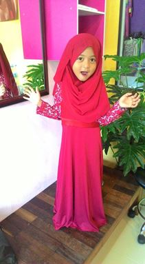 Kids Jubah Lace Exclusive Pink