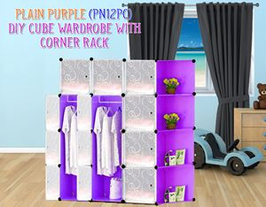 Plain Purple 12C DIY Wardrobe With Corner Rack (PN12PC)