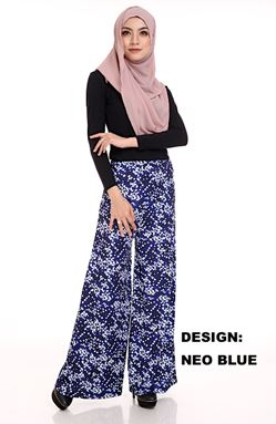 Palazzo Printed (NEO BLUE) Maternity Friendly with Adjustable Waistband
