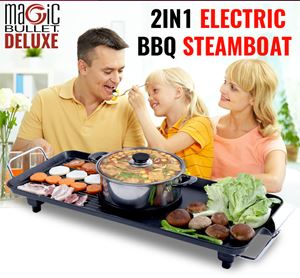 Magic Bullet Deluxe 2In1 Electric BBQ Grill and Steamboat