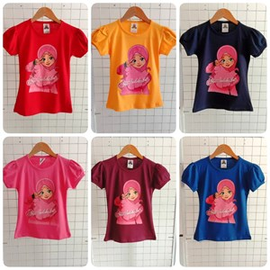 T-Shirt Girl Short Sleeve Ana Muslim: Size 10 Black (7 - 12 tahun)