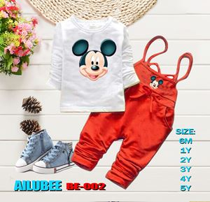 BE002 ( MICKEY RED ) AILUBEE BABY JUMPSUIT 2PCS SET