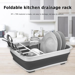 Foldable Plastic Drain Dish Rack with Sink Dish Drain Rack Kitchen Gadget Dish Rack Storage Cup Holder Home Storage