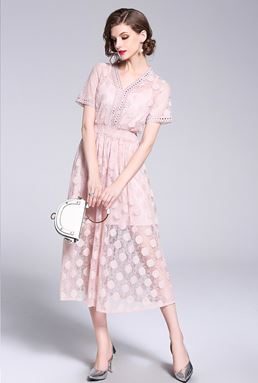 Nude Pink Lace Dress