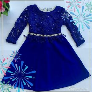 MARCEA SEQUINED LACEY LONG DRESS