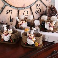 Cute Chef Statue Pepper Bottle Holder Ornaments Home Decor Kitchen Resin Crafts
