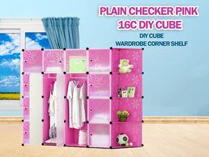 Plain Pink 16C DIY Cube w Corner Rack (FP16CR)
