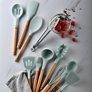 12PCS Silicone Kitchen Tool Set Home Wooden Kitchen Tool Set High Toughness Wash Easily Tool Set