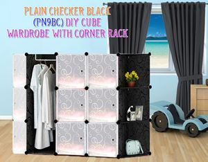 Plain Black 9C DIY Wardrobe With Corner Rack (PN9BC)